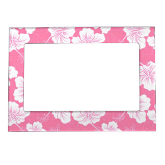Fashionable White Floral on Baby Pink Magnetic Picture Frame