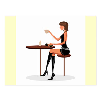 FASHIONABLE WOMAN PARIS COFFEE CAFE BLACK LEATHER POSTCARD