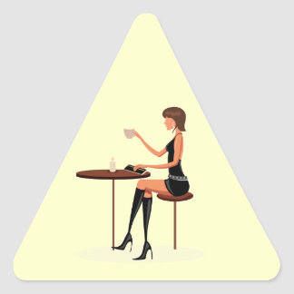 FASHIONABLE WOMAN PARIS COFFEE CAFE BLACK LEATHER TRIANGLE STICKERS