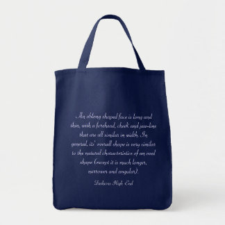 Fashions High End Oblong Shape Face Navy Grocery Tote Bag