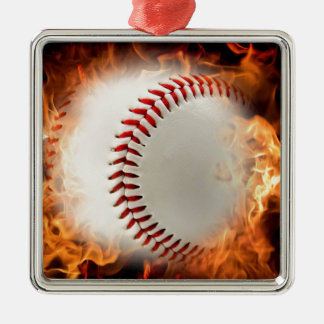 Fast ball on fire Silver-Colored square decoration