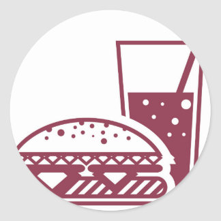 Fast Food Cheeseburger and Drink Classic Round Sticker
