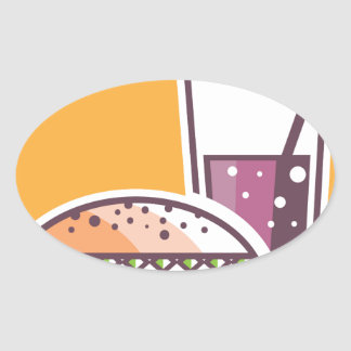 Fast Food Cheeseburger and Drink Oval Sticker