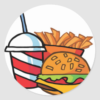 Fast Food Cheeseburger Classic Round Sticker