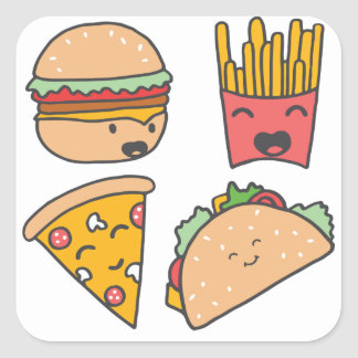 fast food friends square sticker