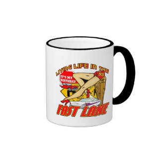 Fast Lane 95th Birthday Gifts Ringer Mug
