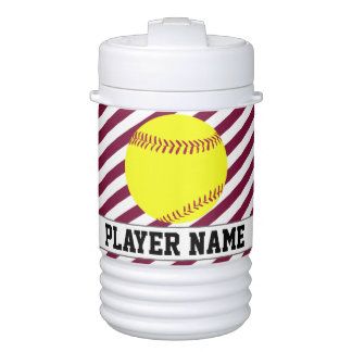 Fastpitch Softball Maroon Striped Custom Text Jugs Cooler