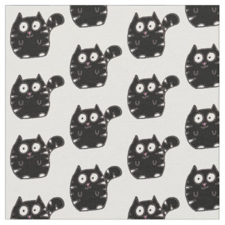 Fat cat black and white fabric