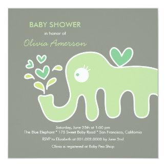 fatfatin Green Elephant Neutral Baby Shower Invite Personalized Invitation