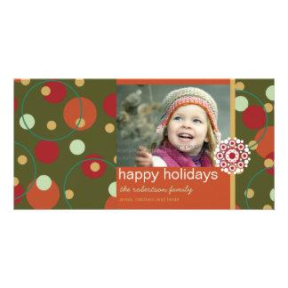 fatfatin Retro Holiday Dots Greeting Photo Card Custom Photo Card