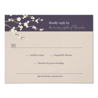 fatfatin White Sakura Cherry Blossom RSVP Card 11 Cm X 14 Cm Invitation Card