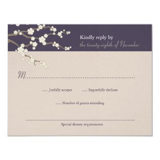 """fatfatin White Sakura Cherry Blossom RSVP Card 4.25"""" X 5.5"""" Invitation Card"""