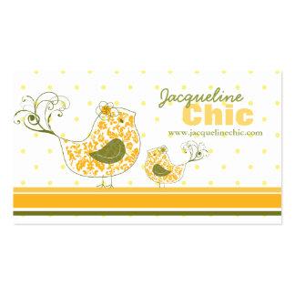 fatfatin Yellow Swirly Damask Birds Business Card