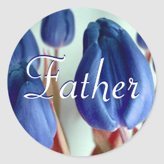 Father Blue Tulips Sticker Stickers