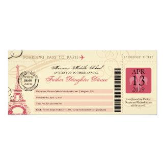 Father Daughter Dance Vintage Paris Boarding Pass 10 Cm X 24 Cm Invitation Card