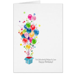 Father In Law Birthday Cards Balloons Bursting Out Greeting Cards