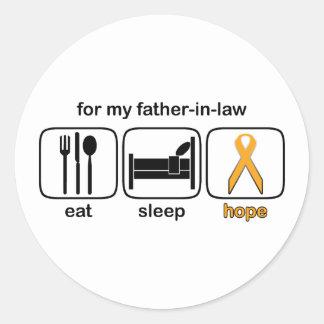 Father-in-law Eat Sleep Hope - Leukemia Classic Round Sticker