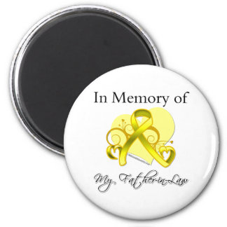 Father-in-Law - In Memory of Military Tribute 6 Cm Round Magnet