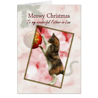 Father-in-law, Meowy Christmas Greeting Card
