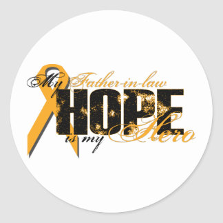 Father-in-law My Hero - Leukemia Hope Classic Round Sticker