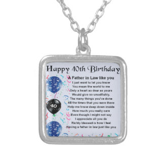Father in Law Poem  -  40th Birthday Necklace