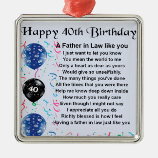 Father in Law Poem  -  40th Birthday Silver-Colored Square Decoration