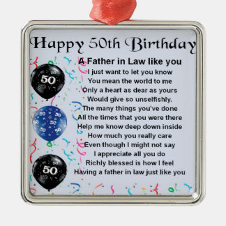 Father in Law Poem - 50th Birthday Silver-Colored Square Decoration