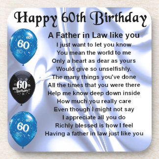 Father in Law Poem - 60th Birthday Coasters