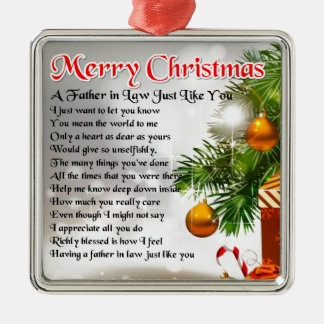 Father in Law Poem - Christmas Design Silver-Colored Square Decoration
