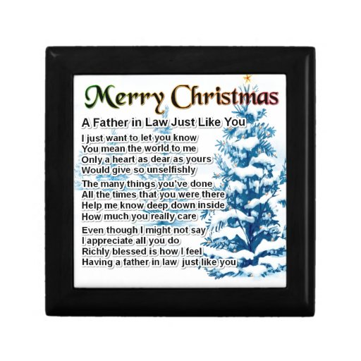 Father in Law Poem - Christmas Design Keepsake Boxes