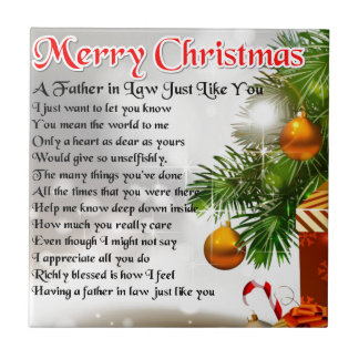 Father in Law Poem - Christmas Design Ceramic Tiles