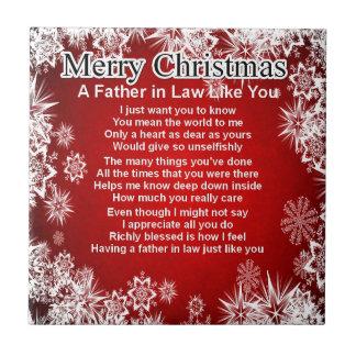Father in Law Poem - Christmas Design Ceramic Tile