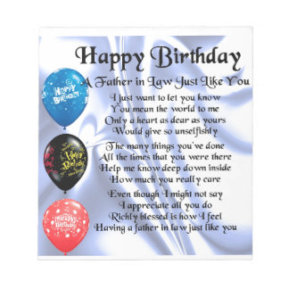 Father in Law Poem - Happy Birthday Memo Notepads