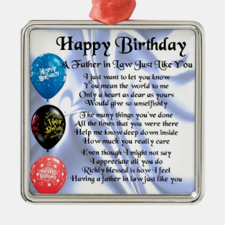 Father in Law Poem - Happy Birthday Silver-Colored Square Decoration