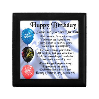 Father in Law Poem - Happy Birthday Small Square Gift Box