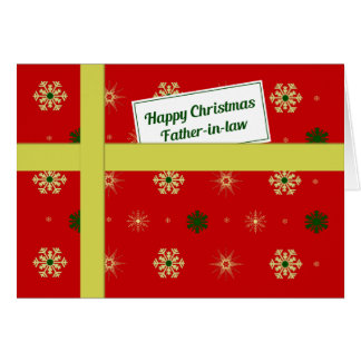 Father-in-law red Christmas parcel Greeting Card