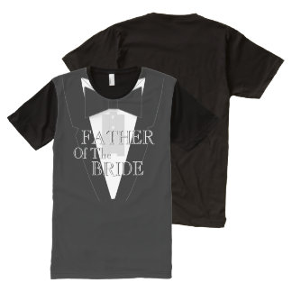 Father of the Bride Black Bowtie Tuxedo All-Over Print T-Shirt