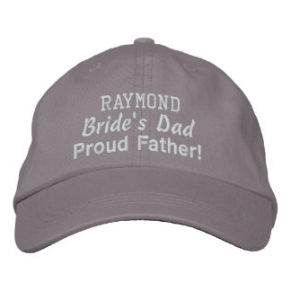 Father of the Bride Custom Name GRAY 04 Embroidered Baseball Cap