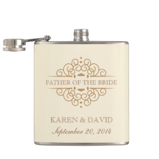 Father of the Bride - Vintage Scrolls Hip Flask