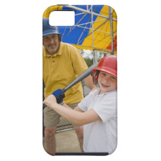 Father with daughter at batting cage iPhone 5 case