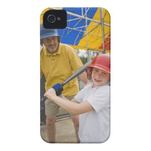 Father with daughter at batting cage iPhone 4 case