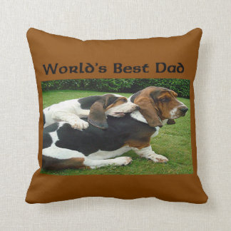 Father's Day Basset Hounds World's Best Dad Throw Pillow