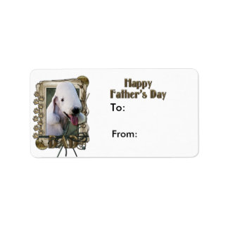 Fathers Day DAD - Stone Paws - Bedlington Terrier Label