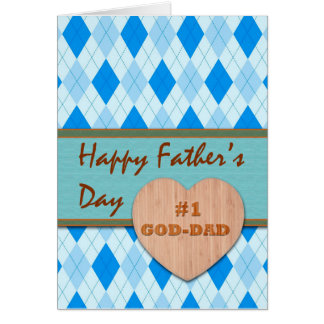 Father's Day for #1 God Dad, Argyle Design Card