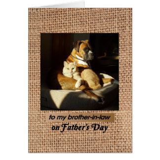 Father's Day, for Brother-in-Law, Boxer and cat Card