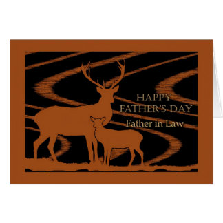 Father's Day for Father in Law, Deer in Field Greeting Card