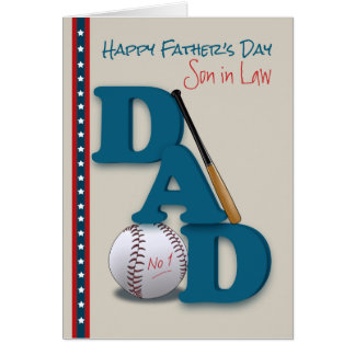 Father's Day for Son in Law Baseball No.1 Dad Greeting Card