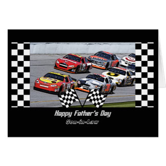 Father's Day for Son-in-Law Stock Car Racing Greeting Card