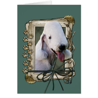 Fathers Day - Stone Paws - Bedlington Terrier Card