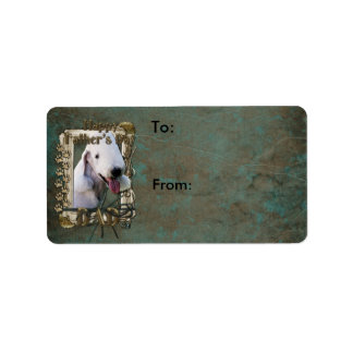 Fathers Day - Stone Paws - Bedlington Terrier -Dad Label